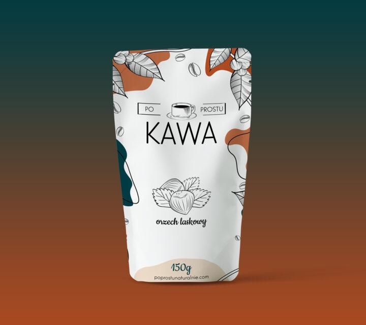 projekt graficzny opakowanie kawa po prostu orzech laskowy agencja kreatywna asunique